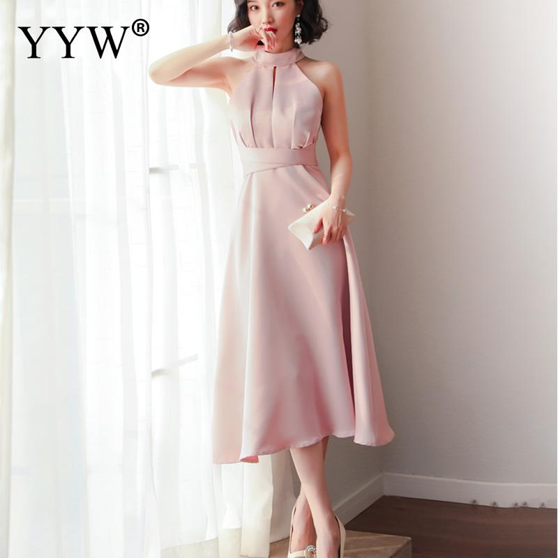 Pink Elegant Evening Dresses 2019 Fashion Sleeveless Halter Party Dress Women High Waist Female Sexy Robe De Soiree Formal Gowns