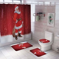 4pcs/lot Santa Claus Bathroom Shower Curtain and Toilet Seat Cover Merry Christmas Decorations For Home Navidad 2019 Xmas Gifts