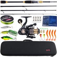 Sougayilang Fishing Rod Combos 4Sections Carbon Fiber Casting Fishing Pole Casting Reel Fishing Carrier Bag Lure Line Set Pesca cheap Rod+Reel+Line Ocean Boat Fishing Ocean Rock Fshing Ocean Beach Fishing LAKE River Reservoir Pond stream Spinning Aluminium Alloy