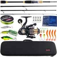 Sougayilang Fishing Rod Combos 4Sections Carbon Fiber Casting Fishing Pole Casting Reel Fishing Carrier Bag Lure Line Set Pesca