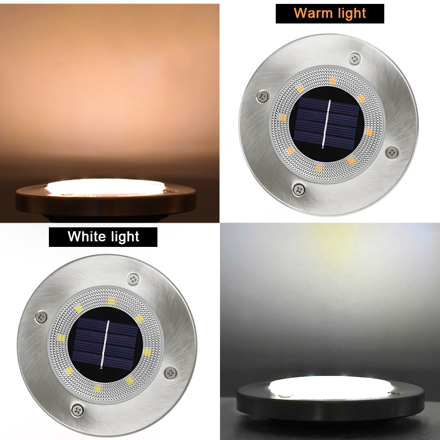 Round Shaped In Ground Solar Outdoor light with 8 LED and Infrared Light Sensor for Garden Pathway 7