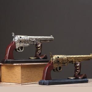 Image 5 - Creative Vintage Resin Gun Bullet Model Crafts Retro Pistol Model Handicraft Figurine Ornament Home Wine Cabinet Decor Desk Gift