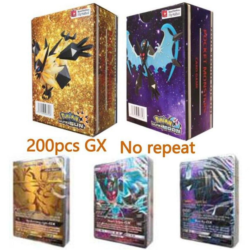 100/200 Pcs No Repeat Pokemon Card GX EX MEGA Shining TAKARA TOMY Game Battle Carte Trading Children Toy