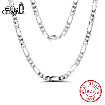 Effie Queen Italy Real 925 Silver Diamond-Cut Figaro Chain Necklace 5mm Wide 40-60cm Long Woman Man Neck Jewelry Gift SC34 - discount item  40% OFF Fine Jewelry