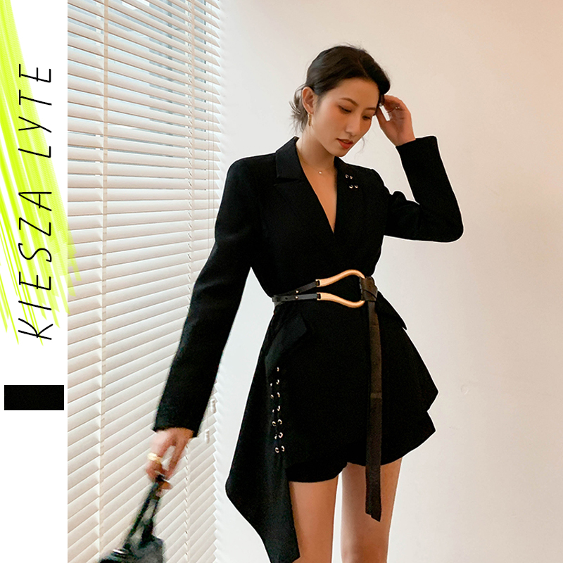 Women's Blazer With Belt Fashion New Irregular Slim Suit Work Office Lady Black Blazers 2020 Spring Summer Jacket High Quality