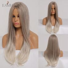EASIHAIR-Peluca de cabello sintético liso para mujer, cabellera artificial largo y sedoso con degradado de Rubio claro, resistente al calor, para Cosplay, color blanco y negro