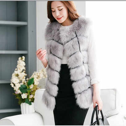 Vetement femme 2019 стильная официальная рабочая одежда пушистая Длинная женская жилетка из искусственного лисьего меха летняя зимняя меховая женская Норковая Шуба V686