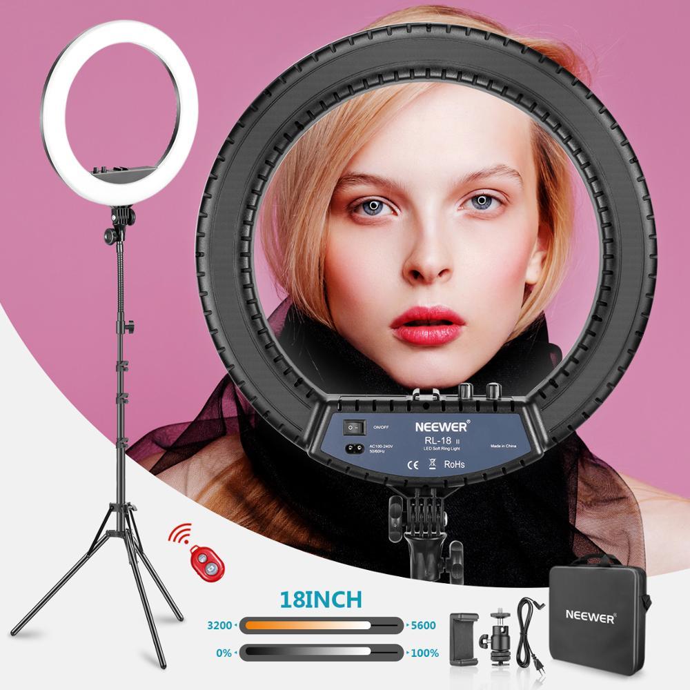 Tüketici Elektroniği'ten Fotoğraf Stüdyosu Aksesuarları'de Neewer RL 18II bi renk 18 inç LED halka ışık Standı ile 55W 3200 5600K Kısılabilir Işık max. 61.8 inç Standı ve Taşıma Çantası title=