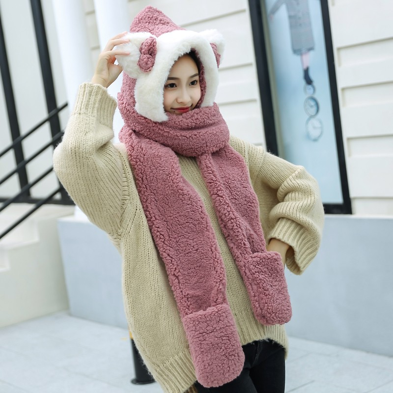 ZDFURS*2019 Hats Scarf Gloves Women's Korean Version Two-double Warm Thickened Winter Cap Cartoon Parent-child Joker Neckerchief
