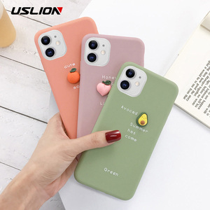 Image 1 - USLION 3D Candy Color Avocado Letter Soft Phone Case For iPhone 11 Pro XS MAX XR X Silicone Case For iPhone 7 6 6S 8 Plus Cover