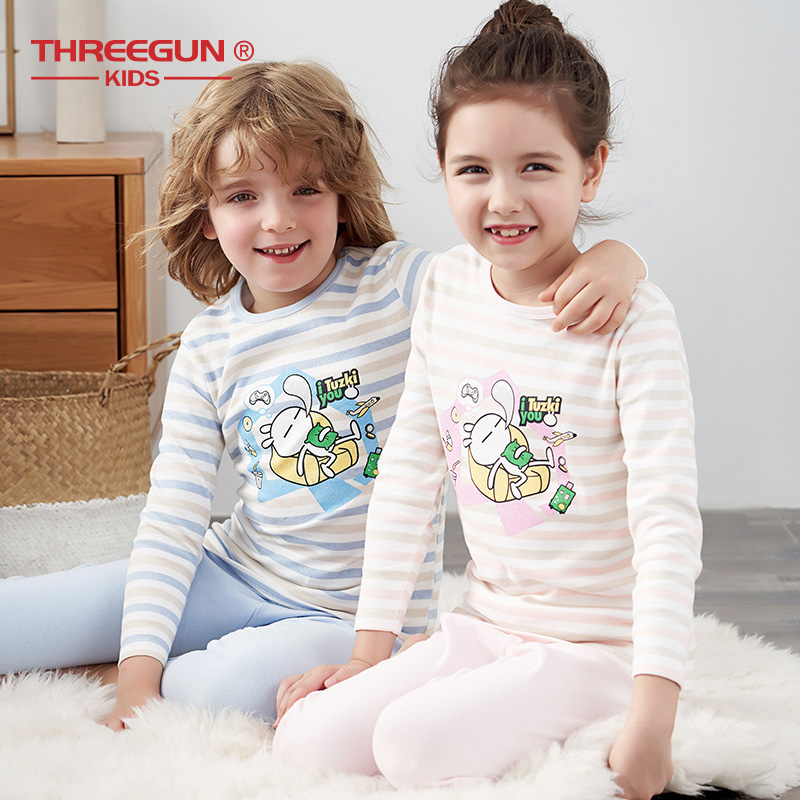 THREEGUN KIDs X Tuzki Bunny Cotton Thermal Underwear Warm Long Johns Autumn Winter Cartoon Boys Girls Ultra-Soft Kids Pajamas