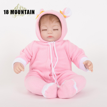 Mohair 45CM Bebe Reborn Doll Toddler Girl Doll In Pink Clothes Cotton Body Soft Silicone Realistic Baby Toy Not Waterproof Gift