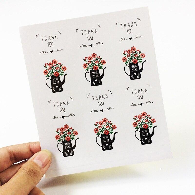 Купить с кэшбэком 120pcs/lot Rose Flower Thank you sealing label Adhesive Kraft Baking Seal  Sticker gift stickers students' Funny DIY Work