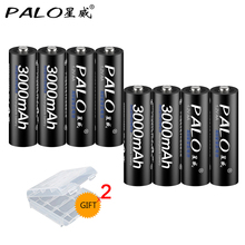PALO 8PCS 3000 mAh 1.2V AA batteries Ni-mh AA rechargeable battery  for flashlight  for toy car high quality make in  China 6v 2400mah aa ni mh battery with charger high capacity electric toy battery remote car ship robot rechargeable 6 v 2400 mah