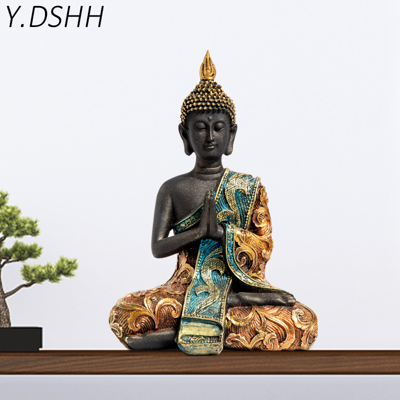 Y.DSHH Buddha Statue Thailand Buddha Sculpture Green Resin Hand Made Buddhism Hindu Fengshui Figurine Meditation Home Decor