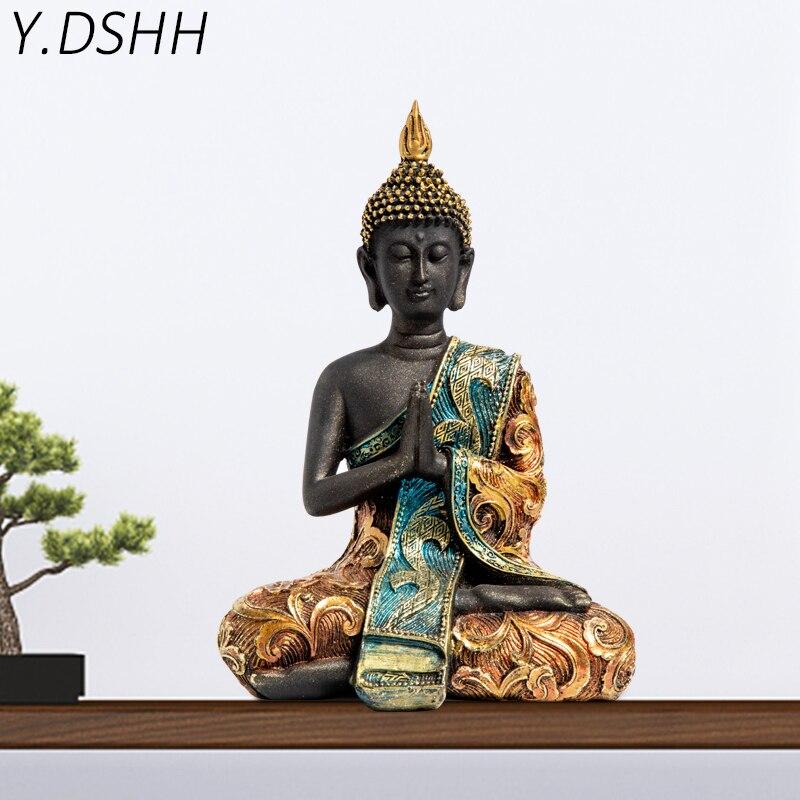 Y. Estatua de Buda DSH escultura de Buda de Tailandia resina verde hecha a mano budismo hindú Fengshui figurita de meditación decoración para el hogar