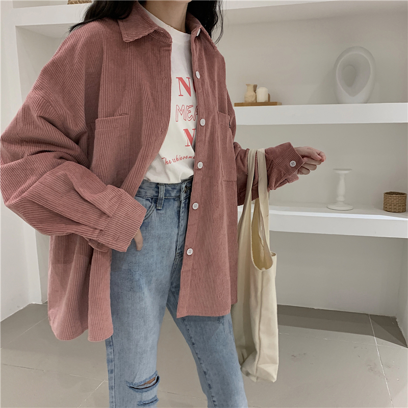 Corduroy Jackets Women Vintage Winter Autumn Coats Plus Size Single-breasted Harajuku Overcoat Loose Jacket Solid Outerwear