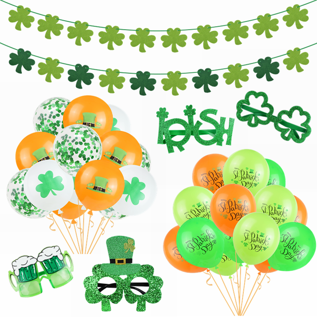 St. Patrick's Day Party Decortions Irish Day Green Clover Banner Balloon Saint Patricks Irish Day Funny Photo Props Decor Supply 1