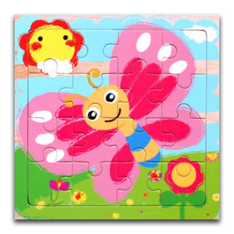 Wooden Puzzles Toys 16Pcs Kids Joy Superior Quality Puzzle Wood Cartoon Butterfly Animals Jigsaw Educational Toys For Children