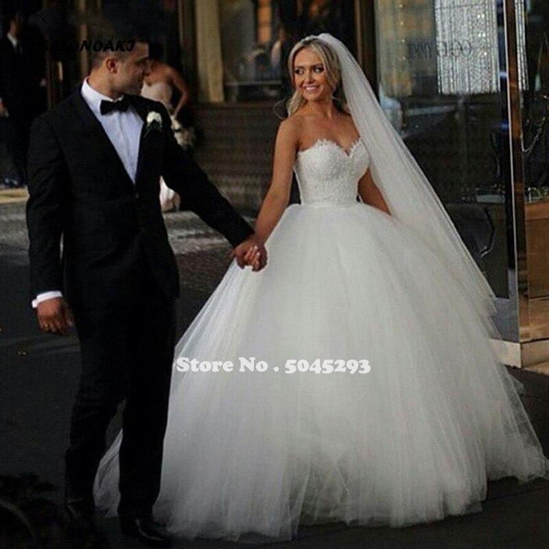 SATONOAKI White Lace Appliques Ball Gown Prince Wedding Dresses Sweetheart Wedding Gowns Bride Dresses Vestidos De Novia