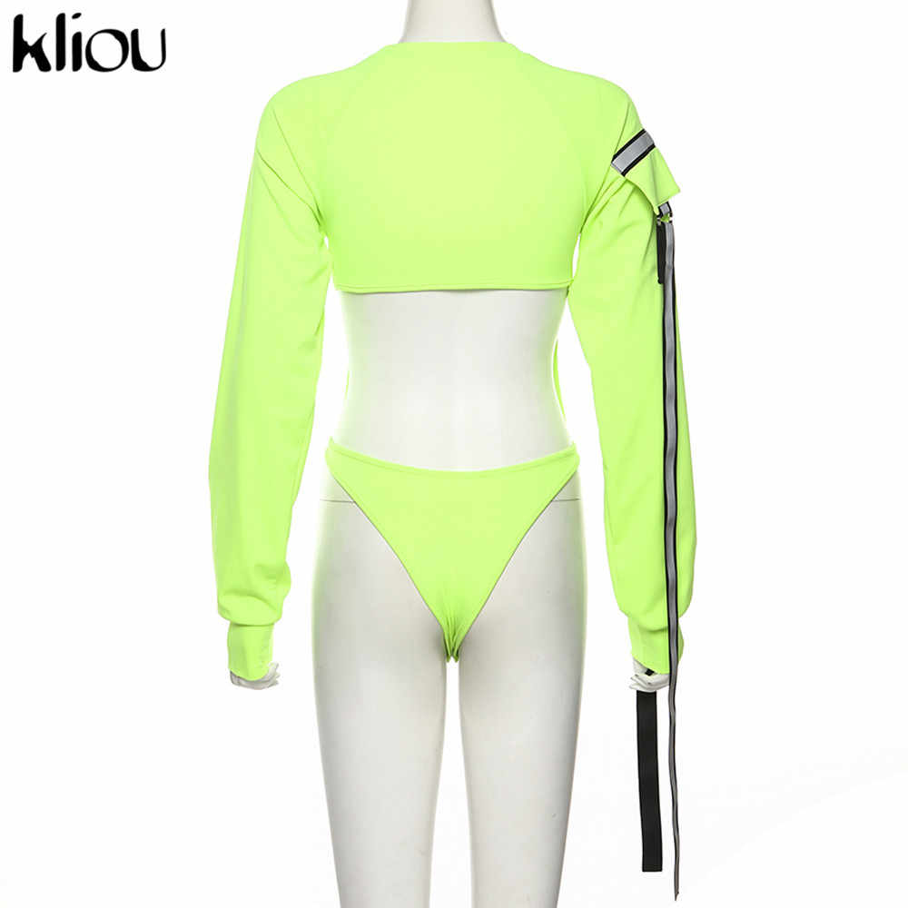 Kliou manga larga ahueca hacia fuera el mono reflectante correa de retazos sexy bodycon mamelucos otoño mujeres moda club slim trajes