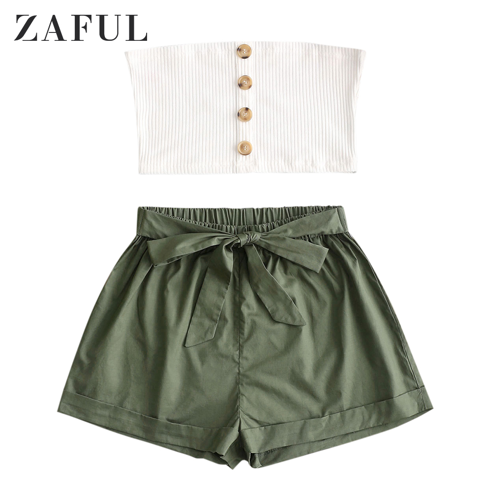 ZAFUL Buttoned Ribbed Bandeau Top And Knotted Shorts Set Self Tie Women Suit Beach And Summer Daily Going Out Wearing 2019