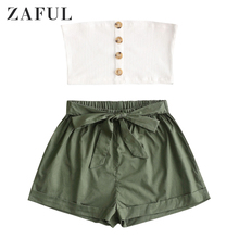 ZAFUL Buttoned Ribbed Bandeau Top And Knotted Shorts Set Sel