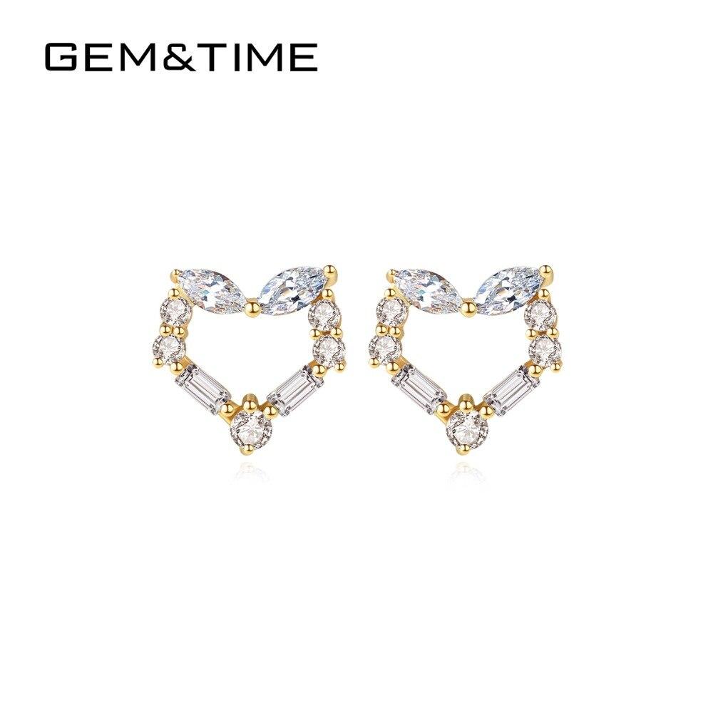 Gem & Time amour entendre réel 14K or solide boucles d'oreilles pour les femmes de mariage fiançailles Fine bijoux or jaune AU585 Brincos E14116