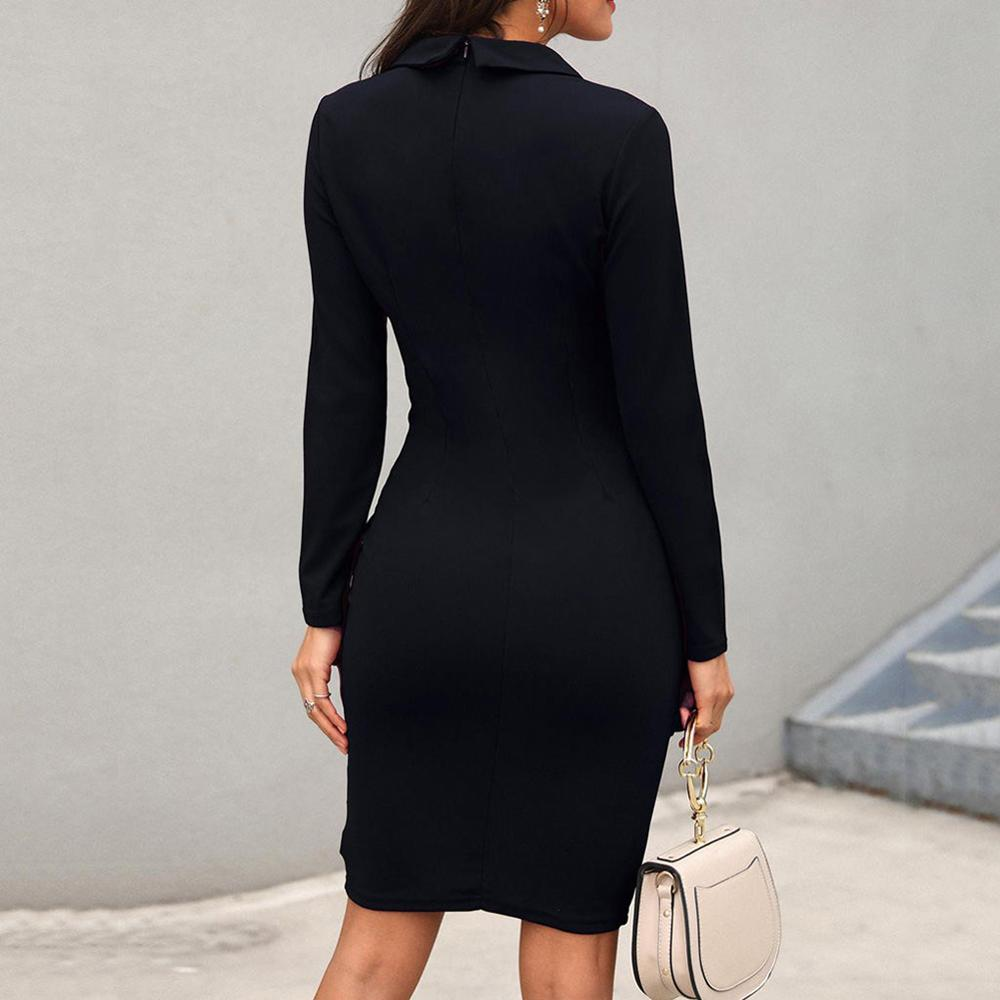 Suit Women Blazer Dress Lapel Button Long Sleeve Slim Fit Business Suit Dress Midi Blazer Office Wear Robe Blazer Autumn 2019