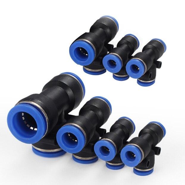 1pcs Pneumatic Tube Fitting Plastic Push To Connect Fittings Tube Tee Connect Push Fit Fittings Pipe Tube Fittings
