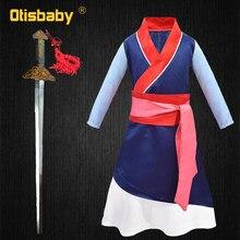 Costume d'Hua Mulan avec perruque et épée pour enfant, fille,nouvelle robe traditionnelle chinoise pour Halloween et Noël, habits pour enfants,