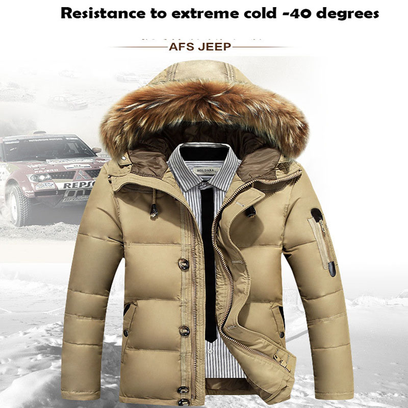 Winter Waterproof Down Jacket Real Fur Collar Cg Parkas Men Wind Breaker Brand Down Coat -40 Celsius Goose Down Jacket