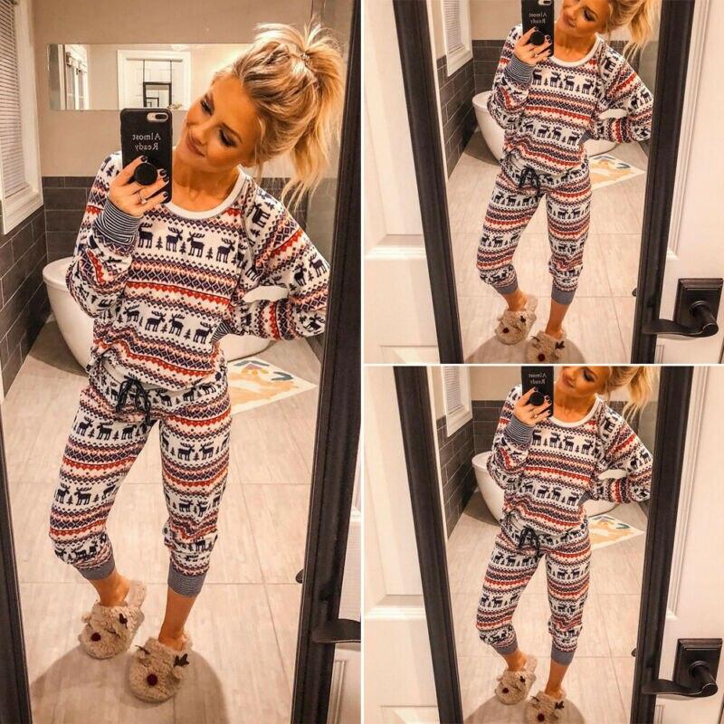 Women Christmas Reindeer Printed Pyjamas Set Long Sleeve Xmas Nightwear 2020 New Year Pajamas Fashion Ladies PJs Sleepewear Set