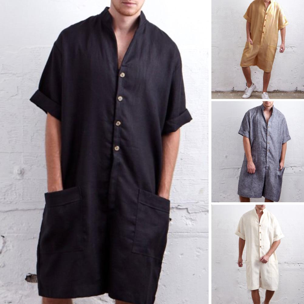 Men Short Sleeve Stand Collar Single-Breasted Hip-hop Short Trousers Jumpsuit