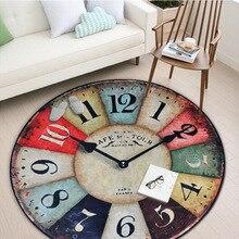 Cilected Reloj de pared Vintage de impresión de Carpe redondo para sala de estar Silla de lana alfombra de área alfombra de piso de dormitorio alfombra de juego de sala de niños