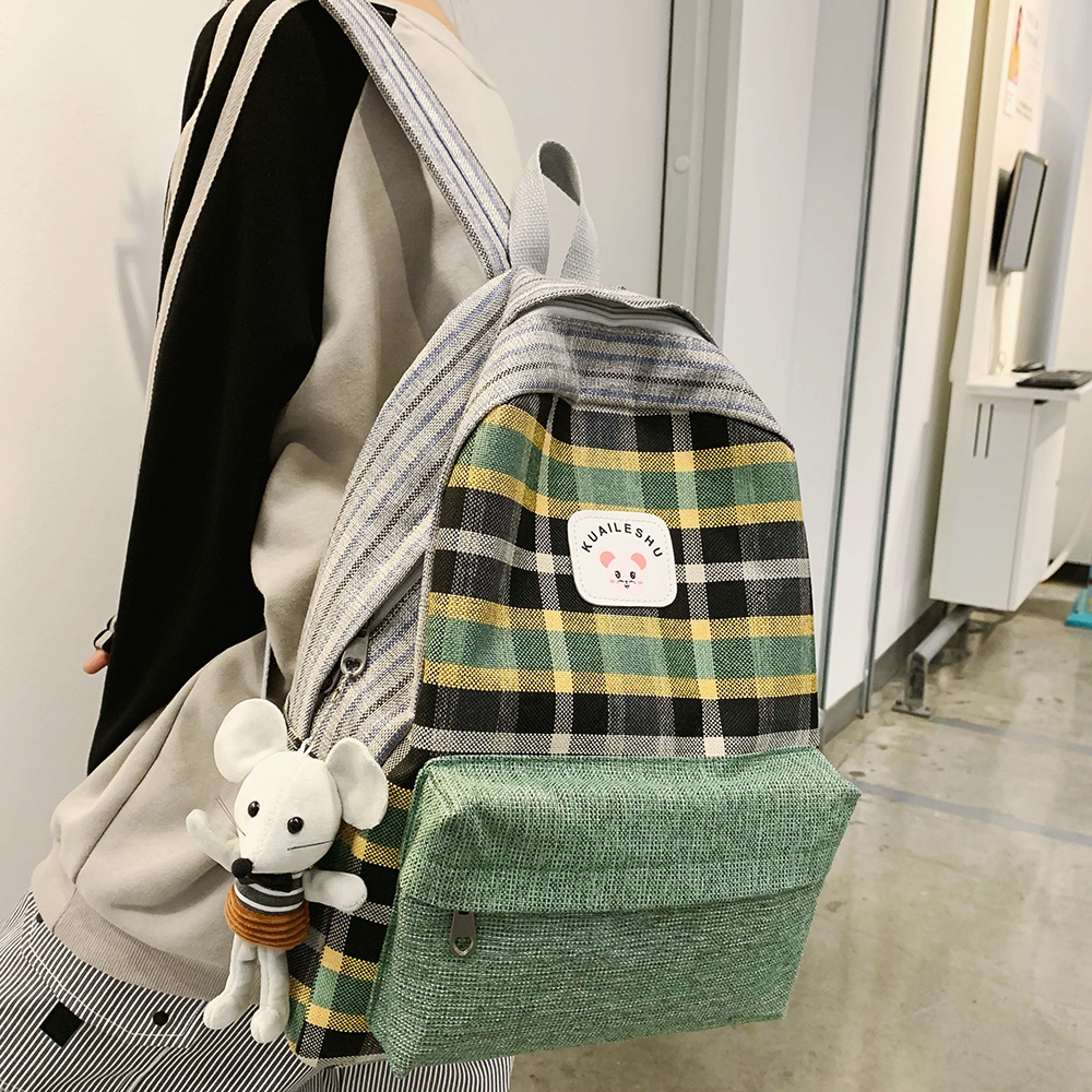 Student Women's Backpack Harajuku Linen School Bags Teenage Girls Fashion Kawaii Backpacks Striped Lattice Lady Mochila Feminina