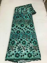 Nigerian lace velvet 3D sequins royal green embroidery elegant French African latest design style high quality bestsellers cheap CN(Origin) Embroidered 100 Cotton Mesh 120cm Eco-Friendly Guangzhou China (Mainland) Garment clothes dresses Within 3-7 days by DHL or FEDEX etc
