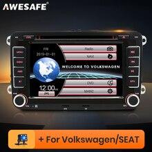 AWESAFE 2 Din 7 cal samochodowy odtwarzacz DVD Radio GPS odtwarzacz dla Volkswagen VW golf 5 6 touran passat B6 B7 sharan JATTA siedzenie do skody Radio samochodowe