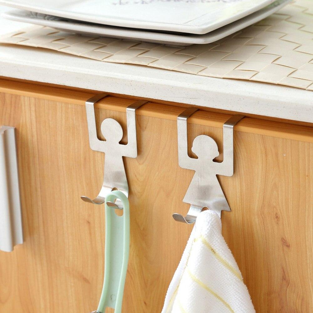 2pcs Stuck Door Board Stainless Steel Hanger Lovers Person Shape Holder Hook Storage Rack Space Saver Kitchen Racks Hangers#yl