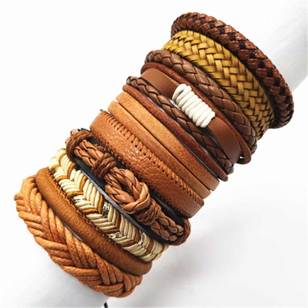 Fashion Bracelets 10pcs/set Wrap Woven Fashion Handmade Men Bracelets Women Leather Bracelet Men Bangle Wholesale Jewelry Gift