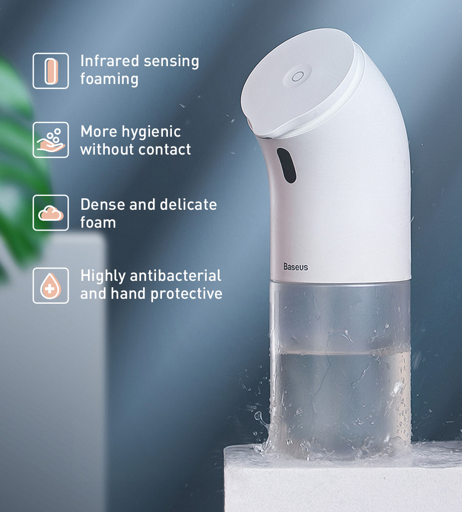 H6bfc1debbbd346489be86b4d6107597c2 Baseus Intelligent Automatic Liquid Soap Dispenser Induction Foaming Hand Washing Device for Kitchen Bathroom (Without Liquid)