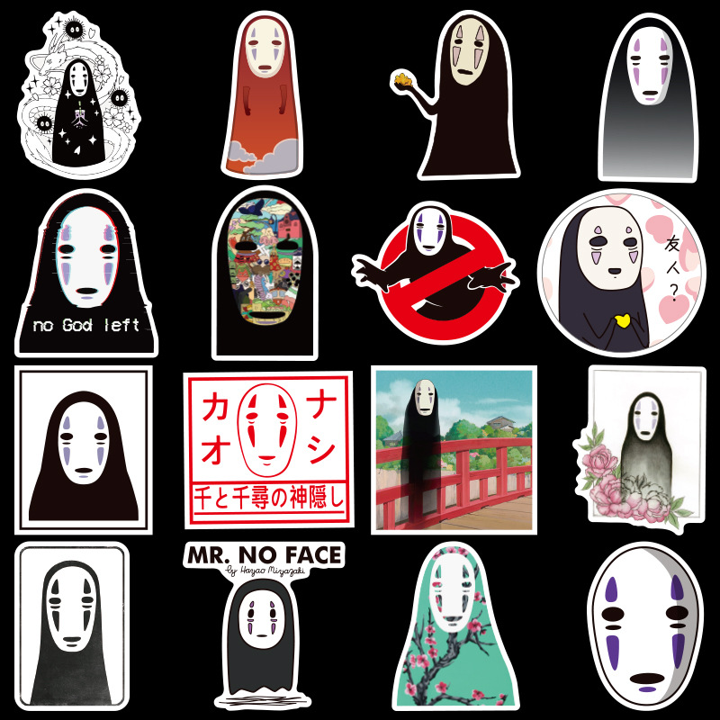 50Pcs/Set PVC Anime No Face Man Stickers Faceless Man Notebook Luggage Decal Fridge Skateboard Diary Stickers