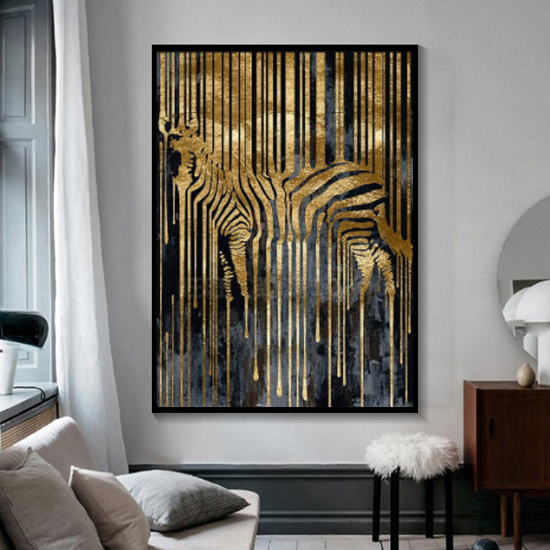 Modern Nordic Abstract Posters and Prints Zebra Gold and Black Art Canvas Painting Wall Pictures for Living Room Decor Cuadros image