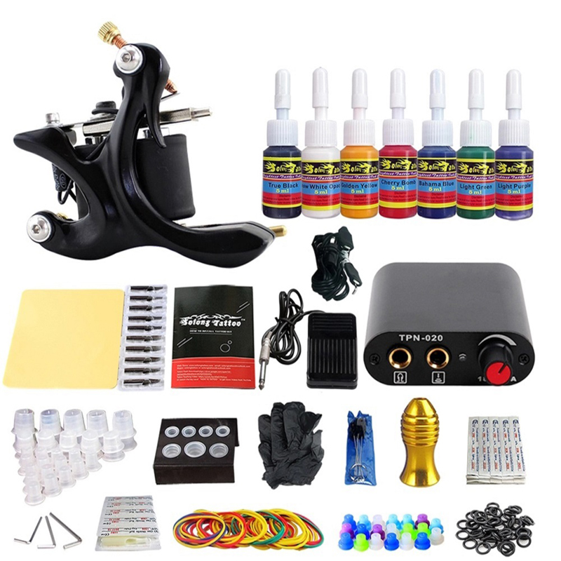 Coil Tattoo Machine Complete Tattoo Machine Kit Needle Ink Power Supply Complete Supplies Liner Shader For Tattoo Shop