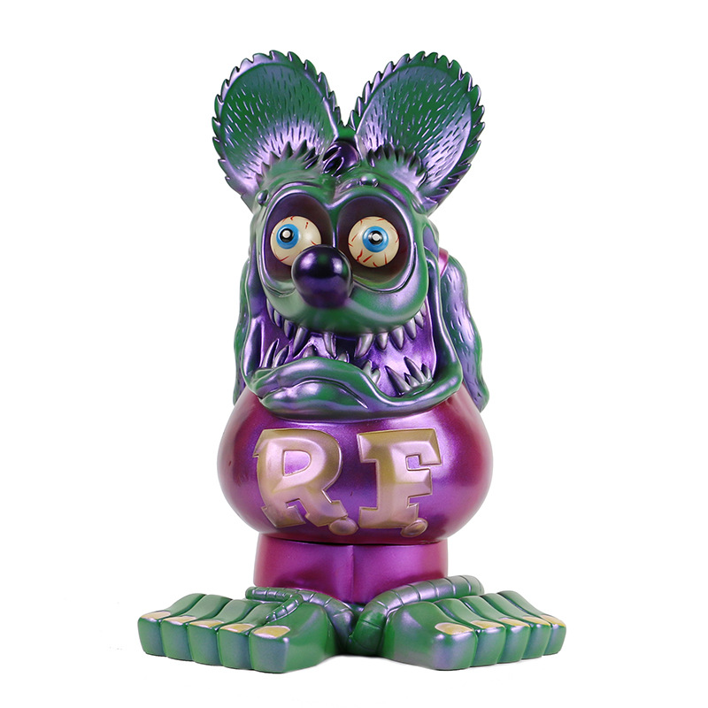 Big Size 33CM Rat Fink Mouse Model Collections Statue Ratfink Action Figure Glow in dark Ed Big Daddy Roth Gifts