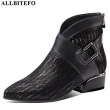 ALLBITEFO doğal koyun derisi inek hakiki deri yarım çizmeler marka moda kız çizmeler için sıcak satış sonbahar kış rahat kadın botları