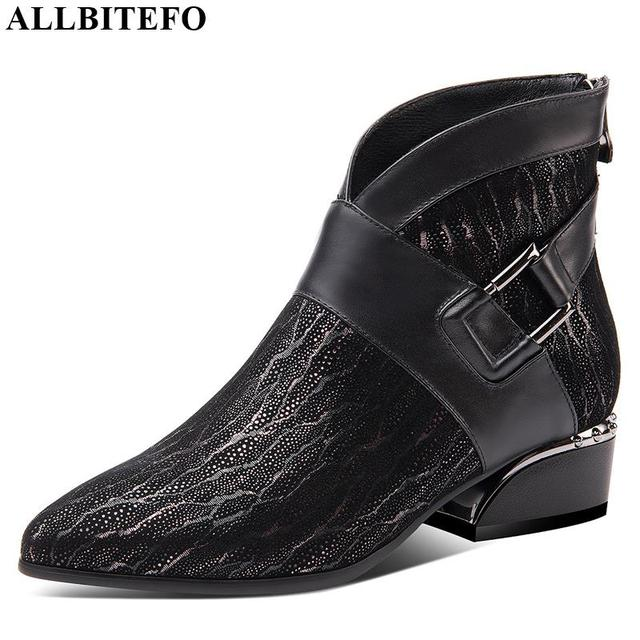 ALLBITEFO natural sheepskin cow genuine leather ankle boots brand fashion girl boots hot sale Autumn Winter casual women boots