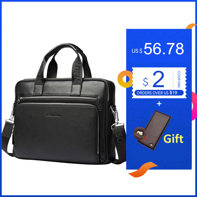 BISON DENIM Genuine leather Briefcases 14'' Laptop Handbag Men's Business Crossbody Bag Messenger/Shoulder Bags for Men N2333-3