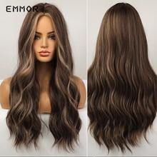 Emmor-Peluca de cabello sintético para mujer, largo ondulado, degradado, marrón, Rubio, fibra resistente al calor, para Cosplay