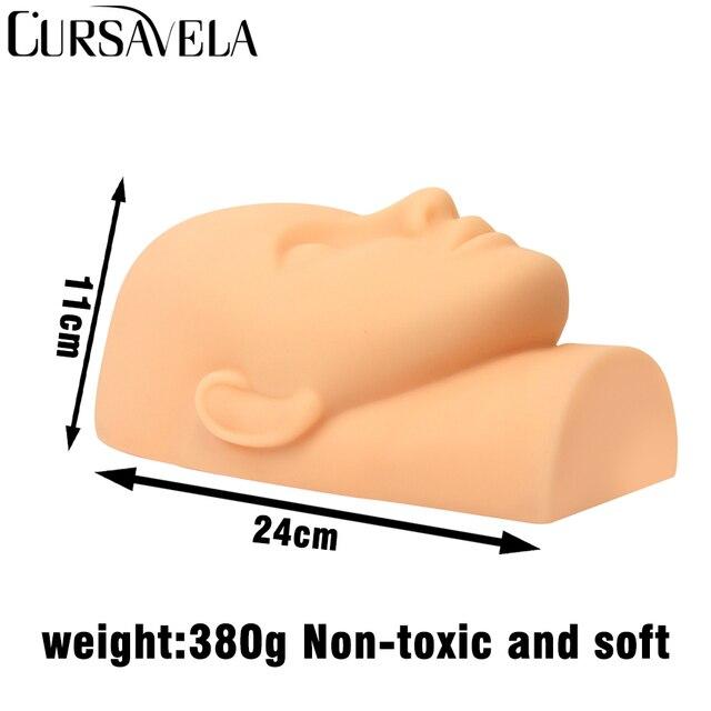 Cursavela Silicone Head Mannequin Flat Head Eyelash Practice False Eyelash Extensions Makeup Model Massage Training Stand Rack 1